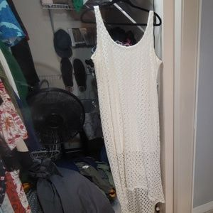 Off white lace high low dress
